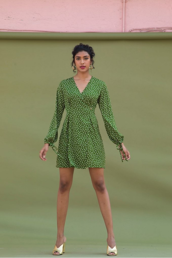 Olive Green polka dot overlap dress