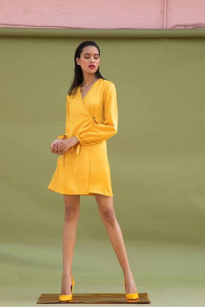 Short yellow Wraparound Dress