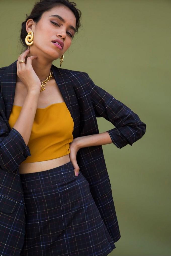 Black Chequered Blazer Set