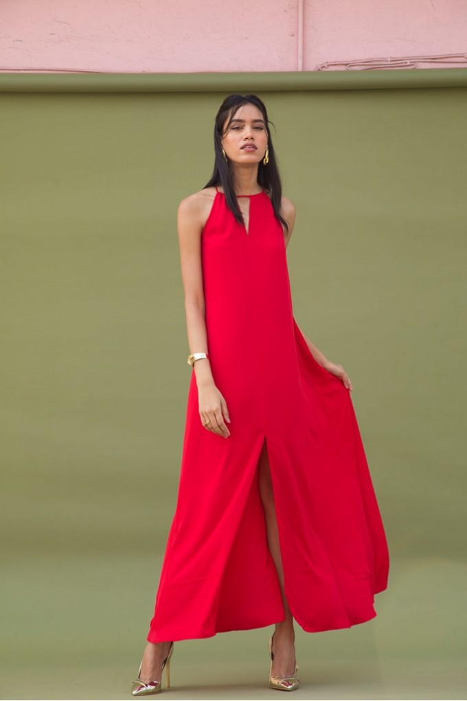 Long Party Dress in Red with Front Slit