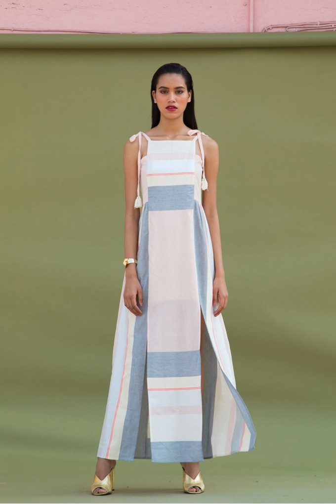Long Dress in Multicolored Stripes with Front Slits