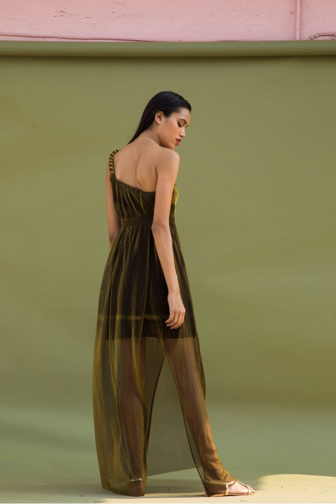 One Shoulder Long Party Dress In Gold
