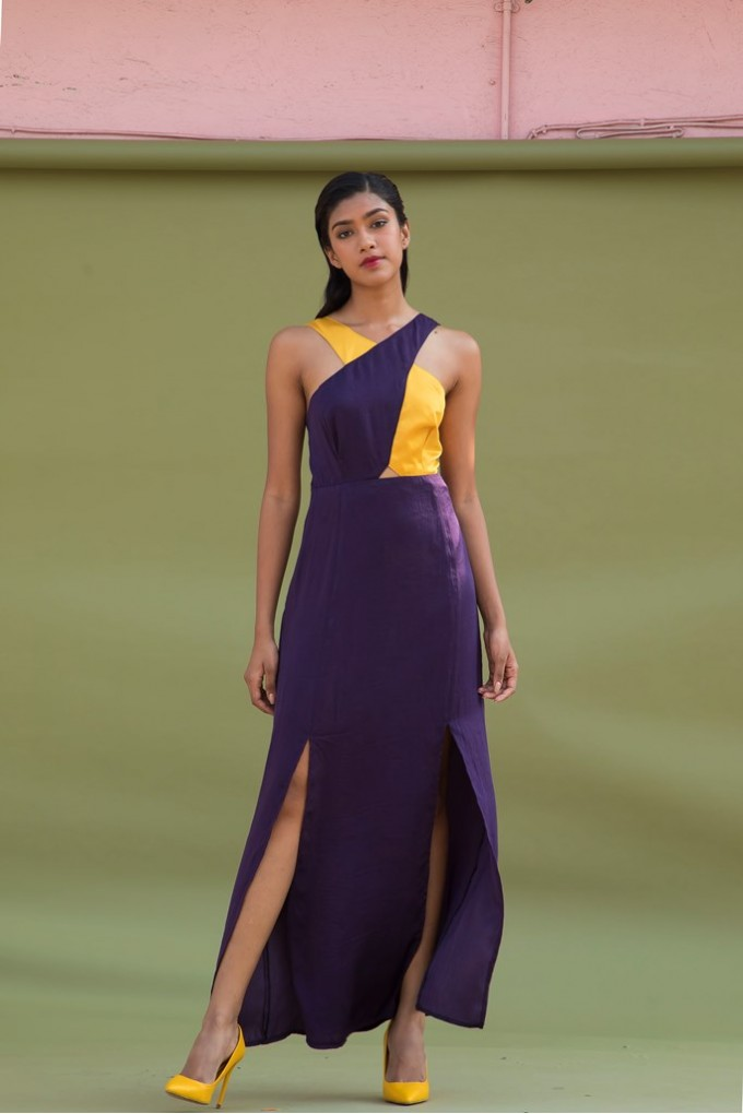 Long Cross Neck Dress With Slits In Violet And Yellow