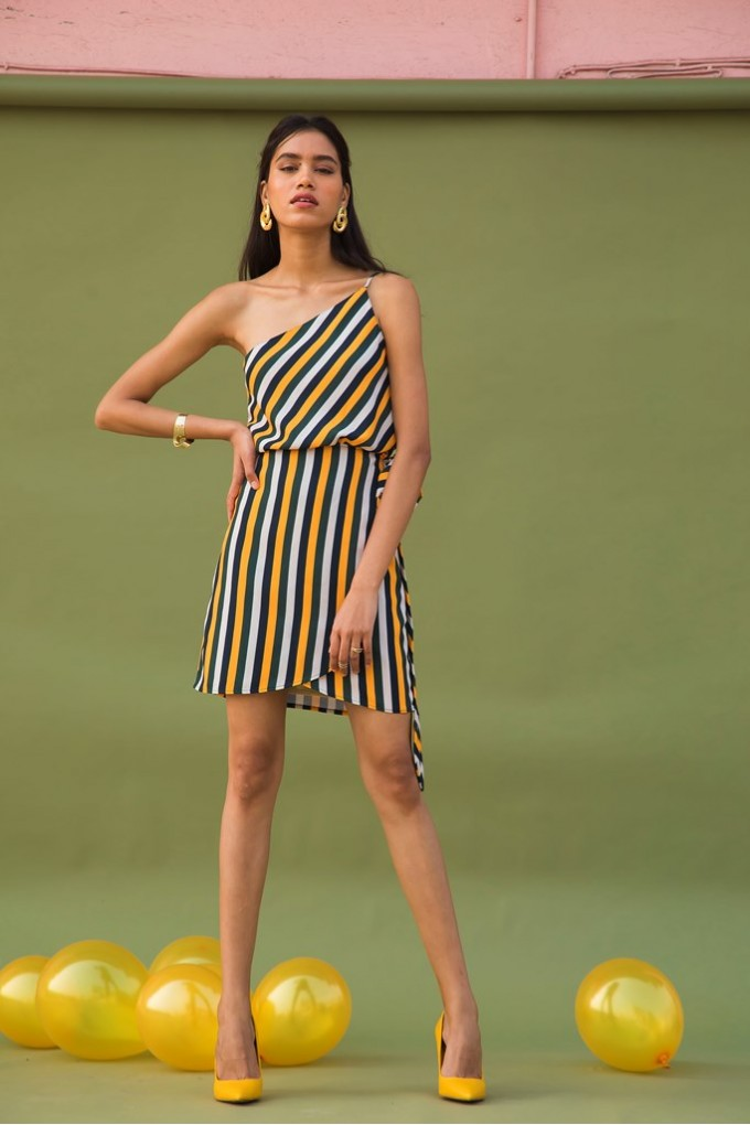 One Shoulder Short Dress With Multicolored Stripes