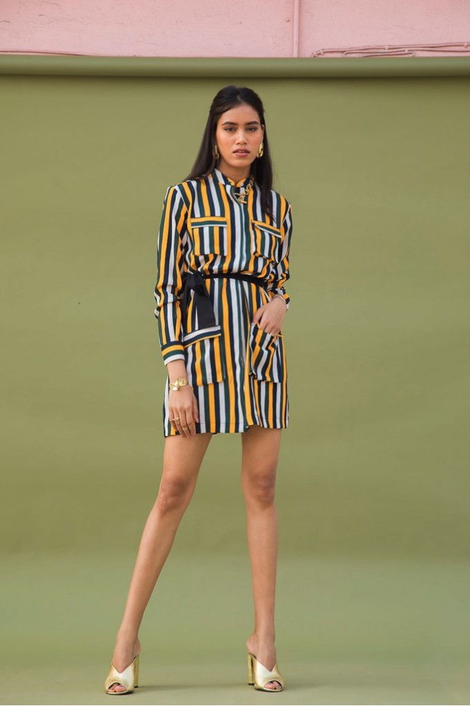 Shirt Dress in Multicolored Stripes