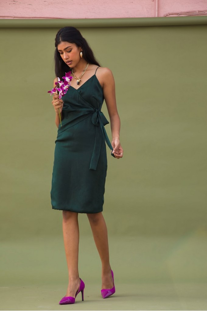 Overlap Short Dress in Green Satin