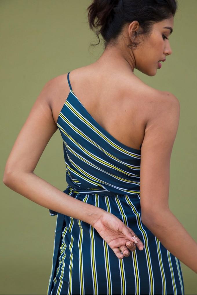 One Shoulder Short Dress in Bottle Green