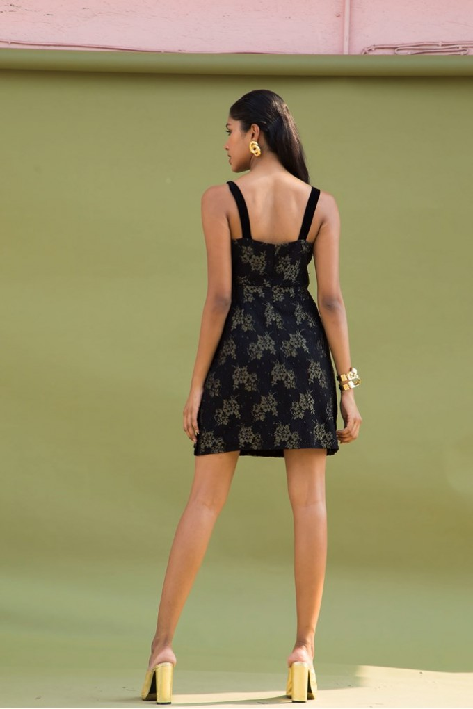 Short Party Dress In Black and Gold with Black Tape on Side