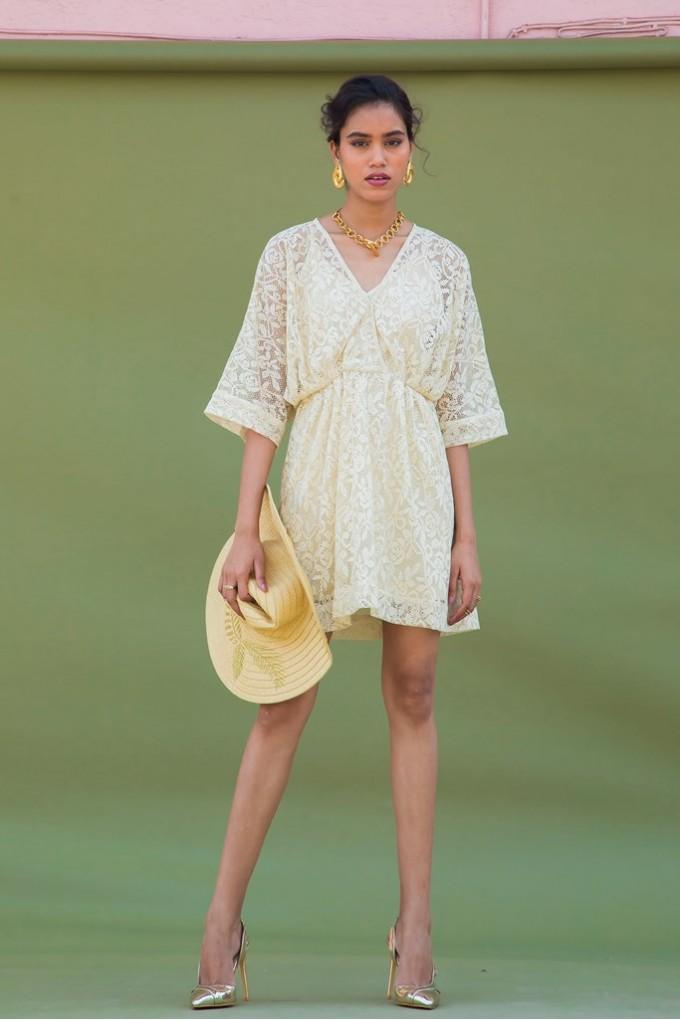 Cream Shifli Party Short Dress