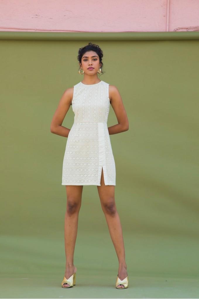 Cream Crochet short dress