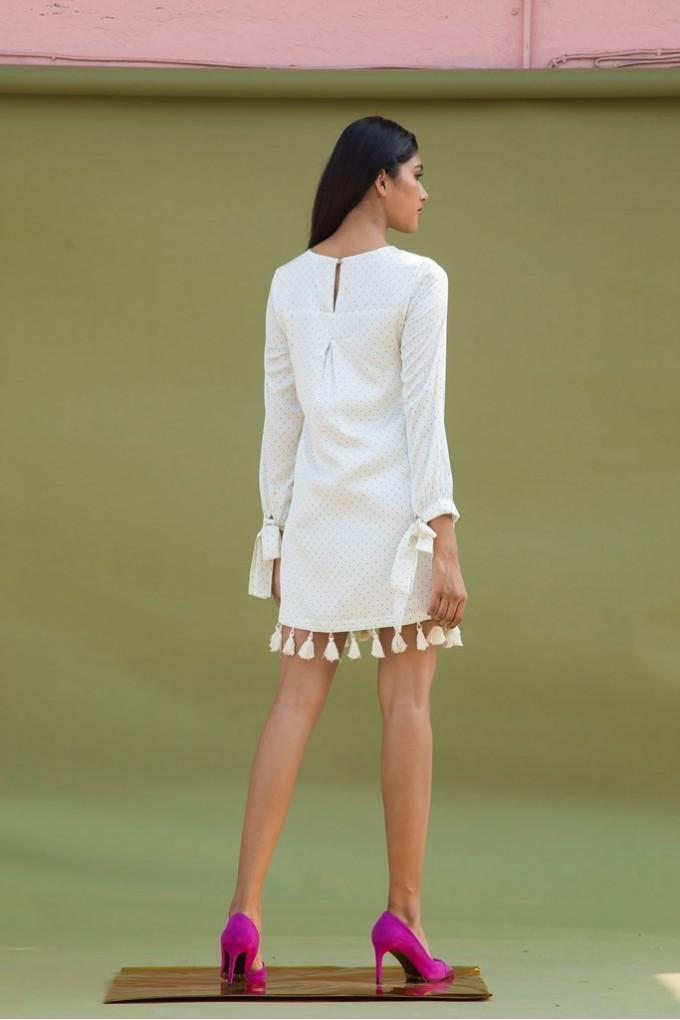 White polka short dress