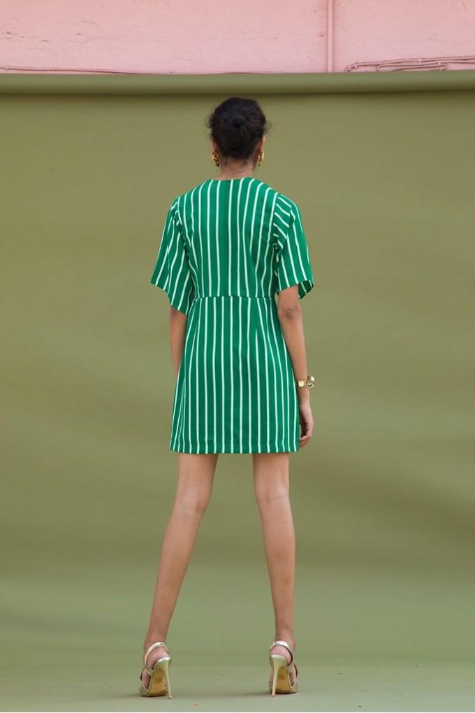 Green and White Short Stripes Dress