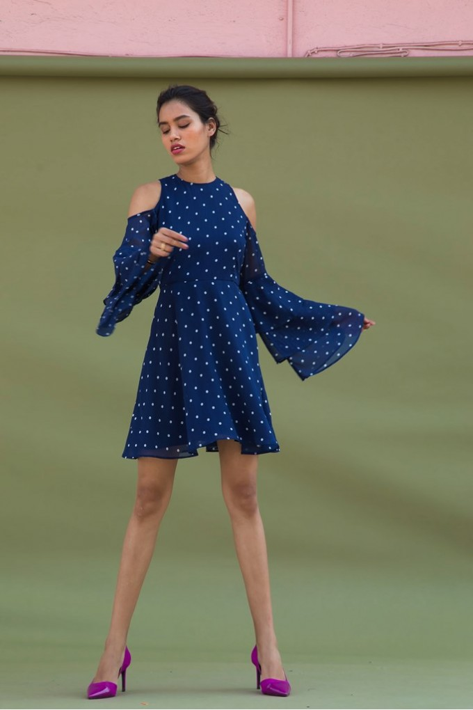 Blue and White Polka Dot Cold Shoulder dress