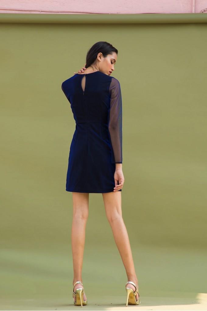 Blue Shimmer Short Dress