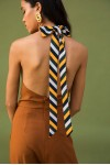 Long Back Neck Tie Up Jumpsuit In Brown