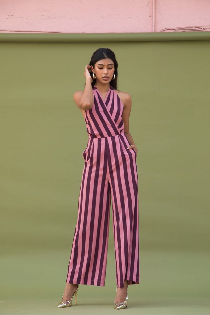 Halter Neck Party Jumpsuit in Blush And Wine