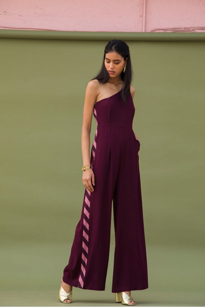 One Shoulder Maroon Party Jumpsuit