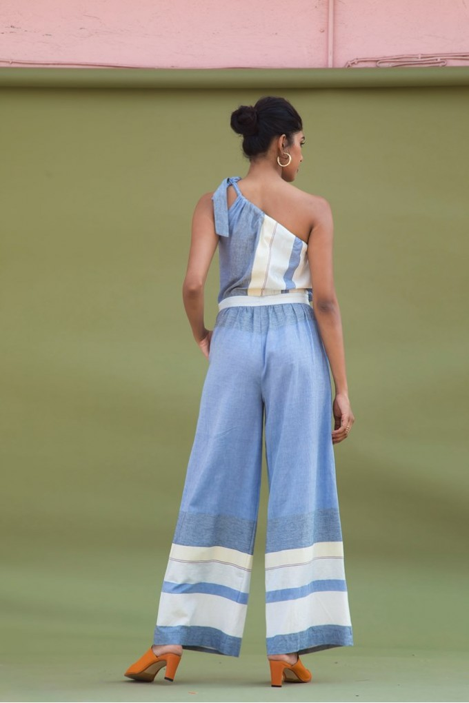 One Shoulder Tie-Up Jumpsuit in Multi Colored Stripes