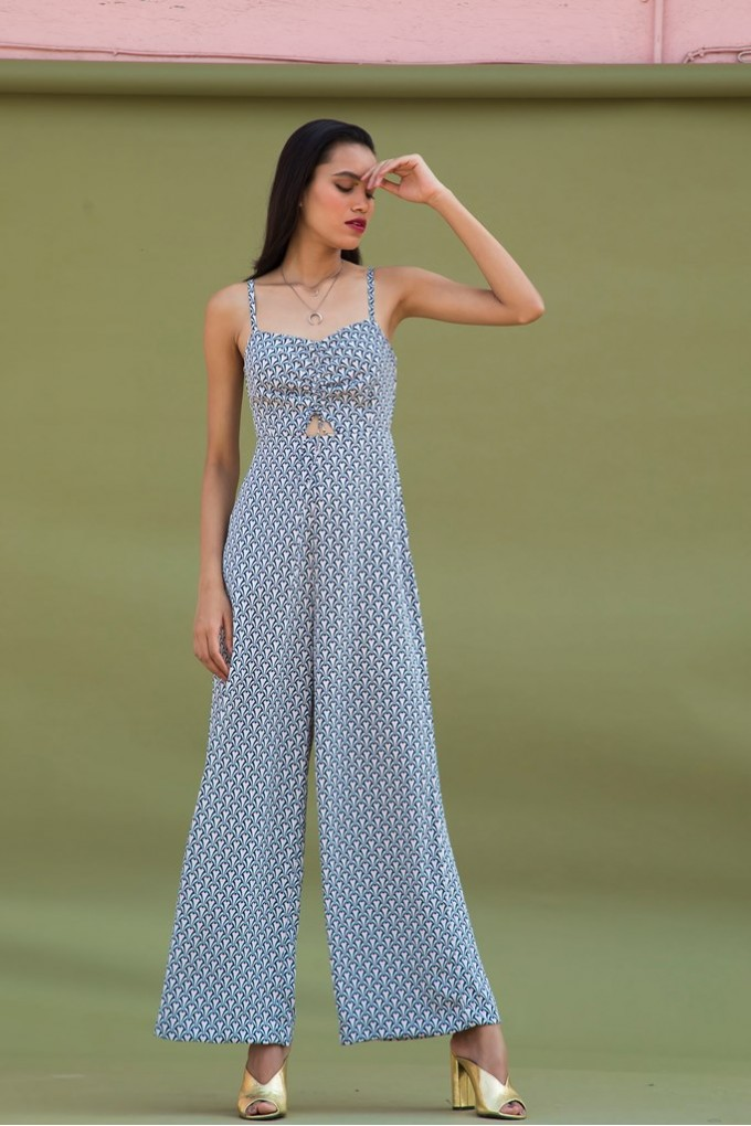 Diamond Print Jumpsuit With Ruching Detail in Front