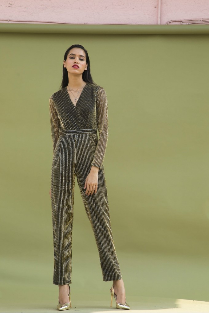 Gold and Silver Party Jumpsuit with Sleeves