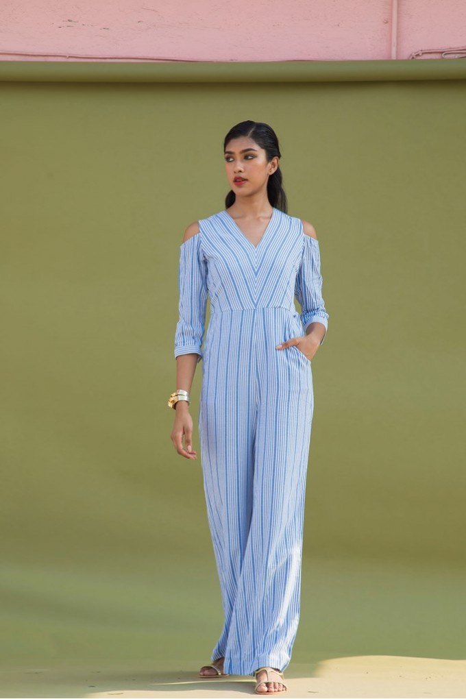 Cold Shoulder 3/4th Long Jumpsuit in Blue And White Stripes