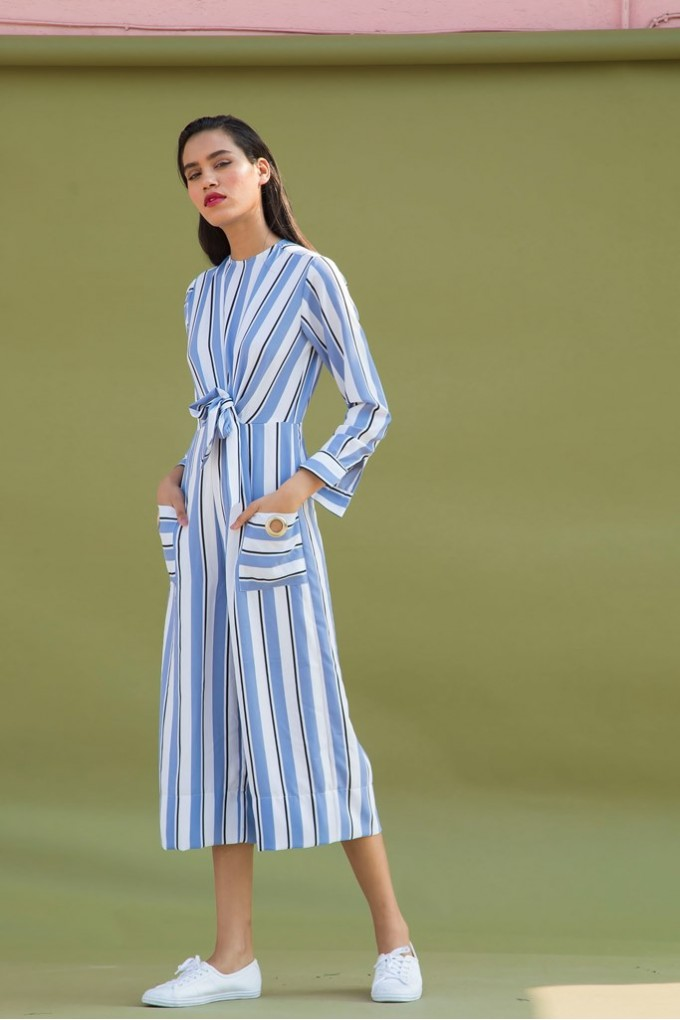 Grey And White Striped Jumpsuit With Eyelets at the Pocket