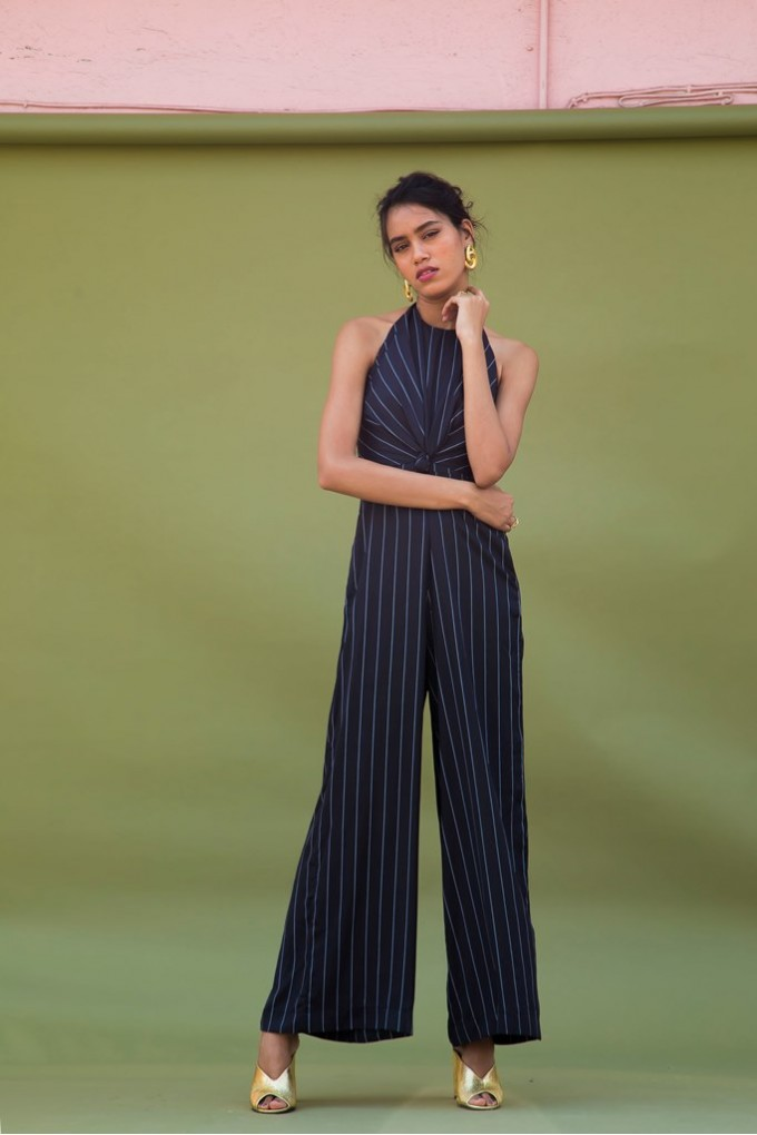 Black and White Striped Front Knot Jumpsuit