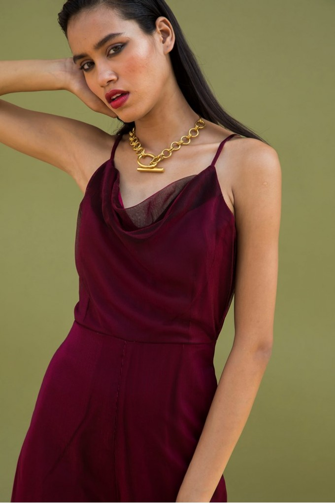 Red Bling Cowl Neck Jumpsuit