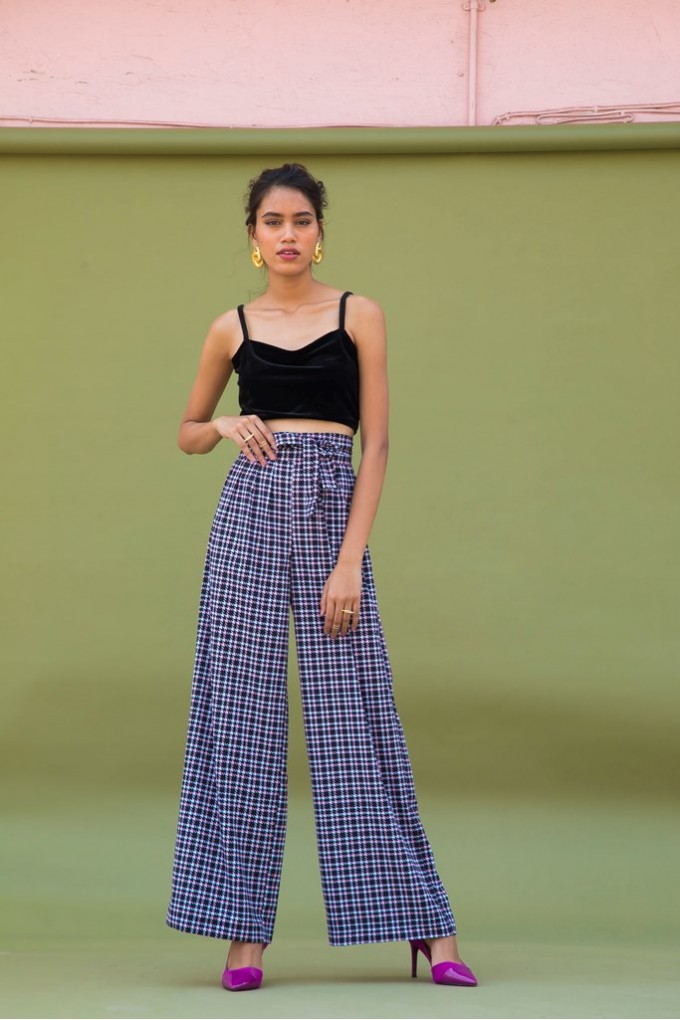 Hounstooth High-Waisted Pants
