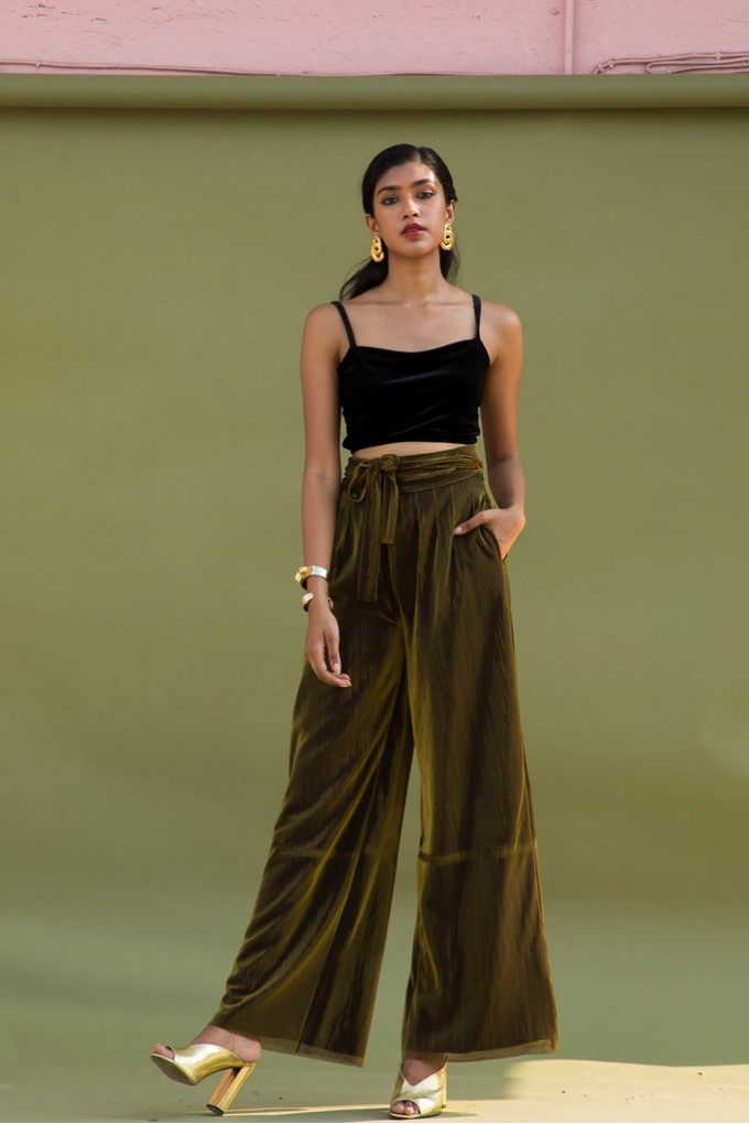 Golden High-Waisted Party Pants