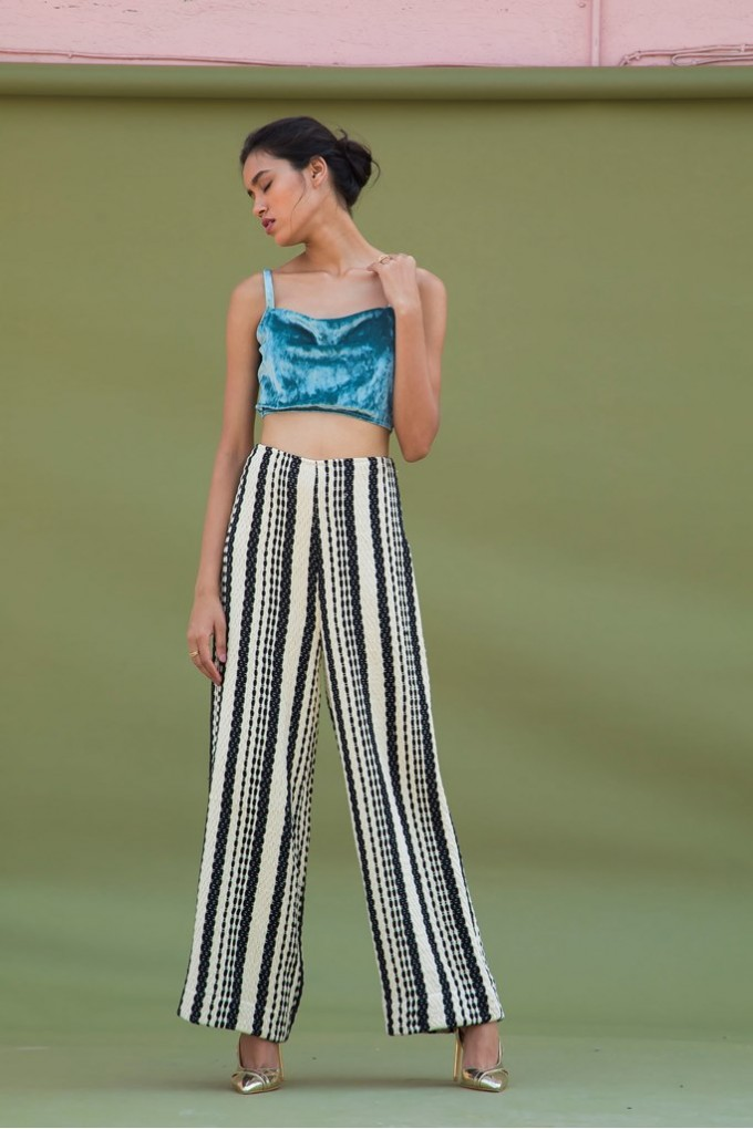 Jacquard High-Waisted Pants