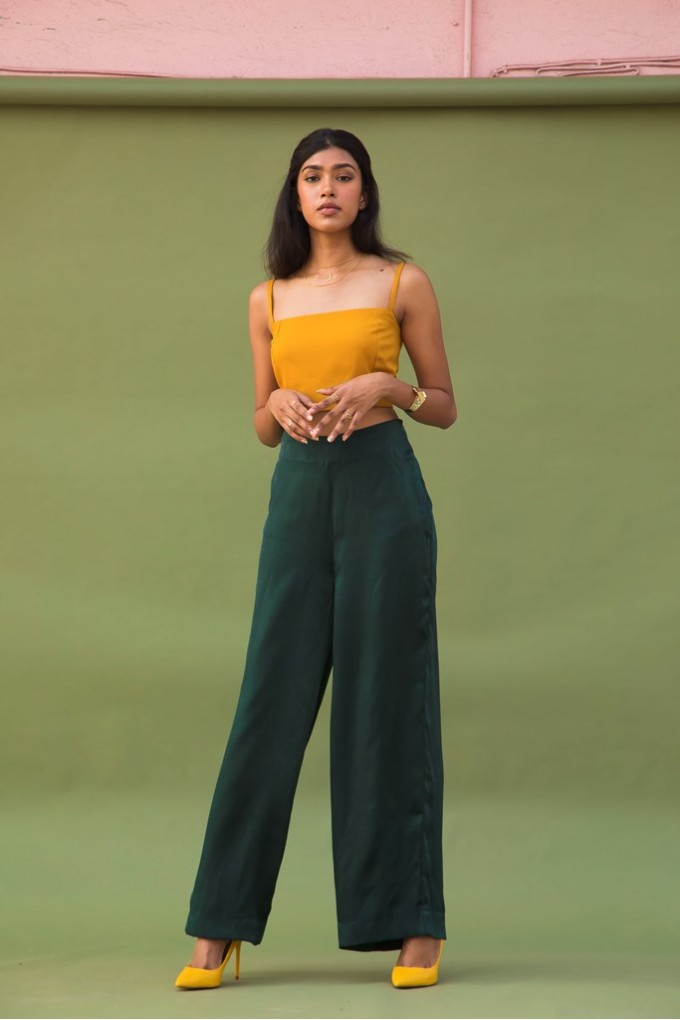 Green High Waist Pants with Pockets