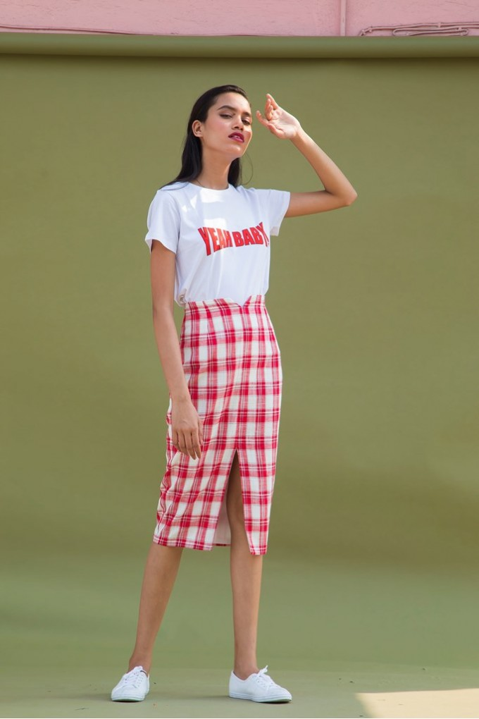 Red And White Chequered Pencil Skirt With Slit