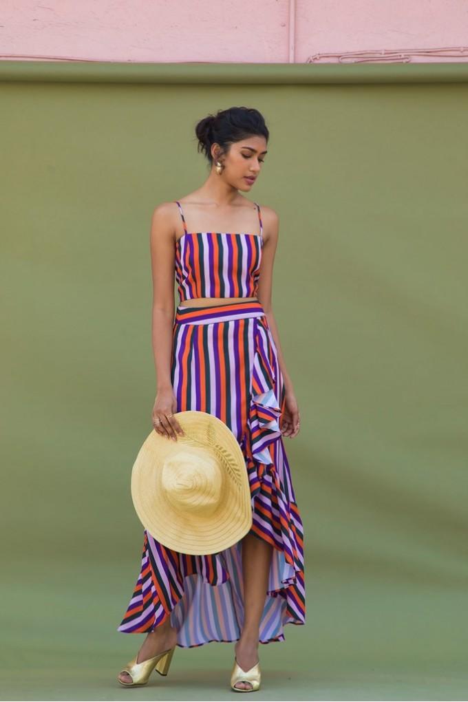 Multicolor Striped Wrap Frill Maxi Skirt