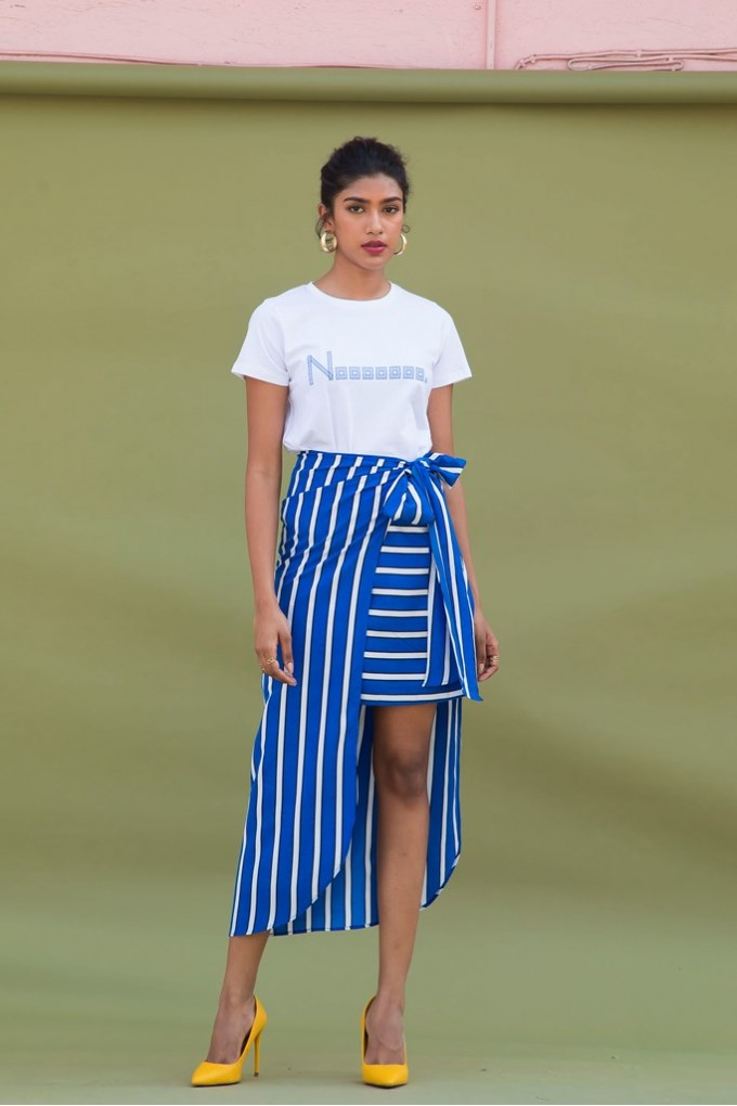 Blue And White Striped Overlap Skort Set