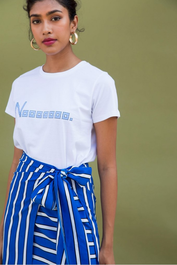 Blue And White Striped Overlap Skort Set