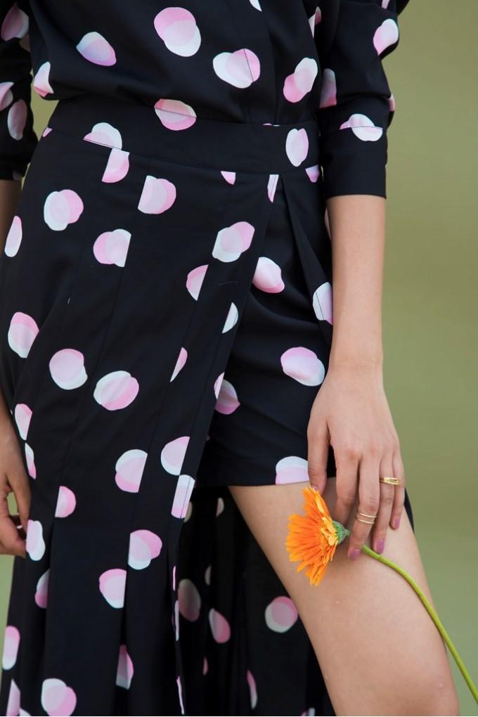 Black Skort With White And Pink Polka Dots Set