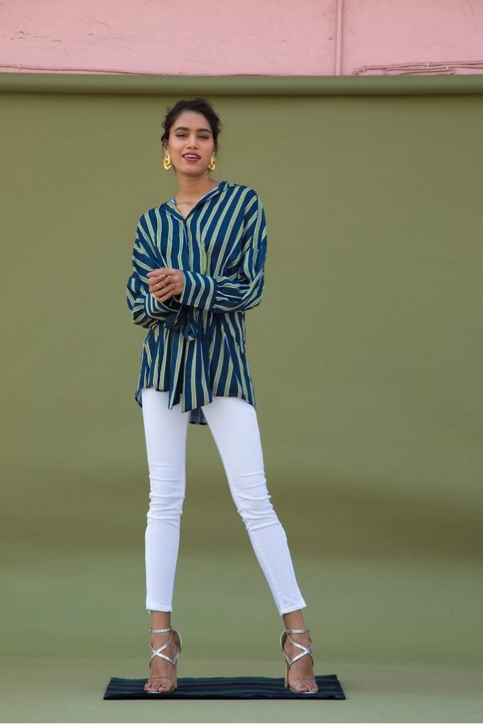 Multi Colored Blue Boyfriend Shirt With Centre Tie Up