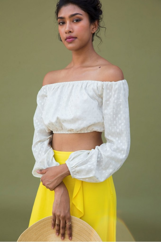 White Bubble Sleeve Crop Top With Dobby