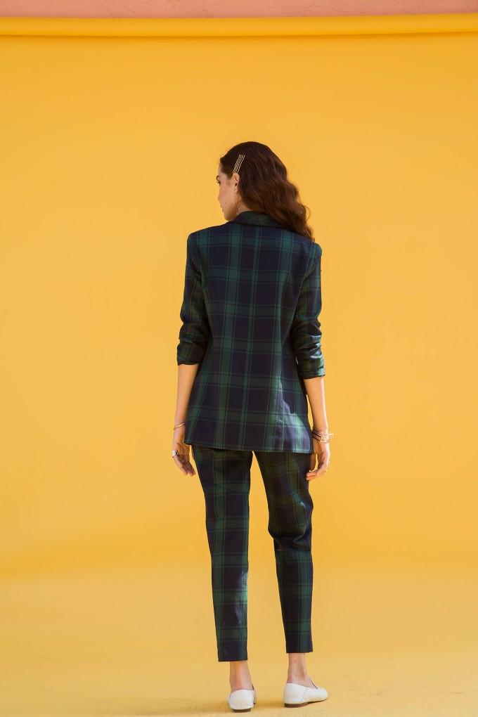 Green And Blue Plaid Blazer