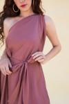 One Shoulder Blush Handkerchief Hem Long Dress In Satin