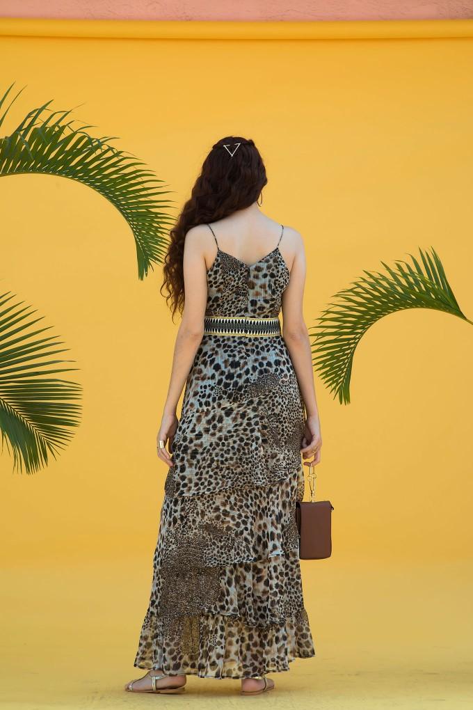 Animal Print Long Dress With Boho Tape At Waist