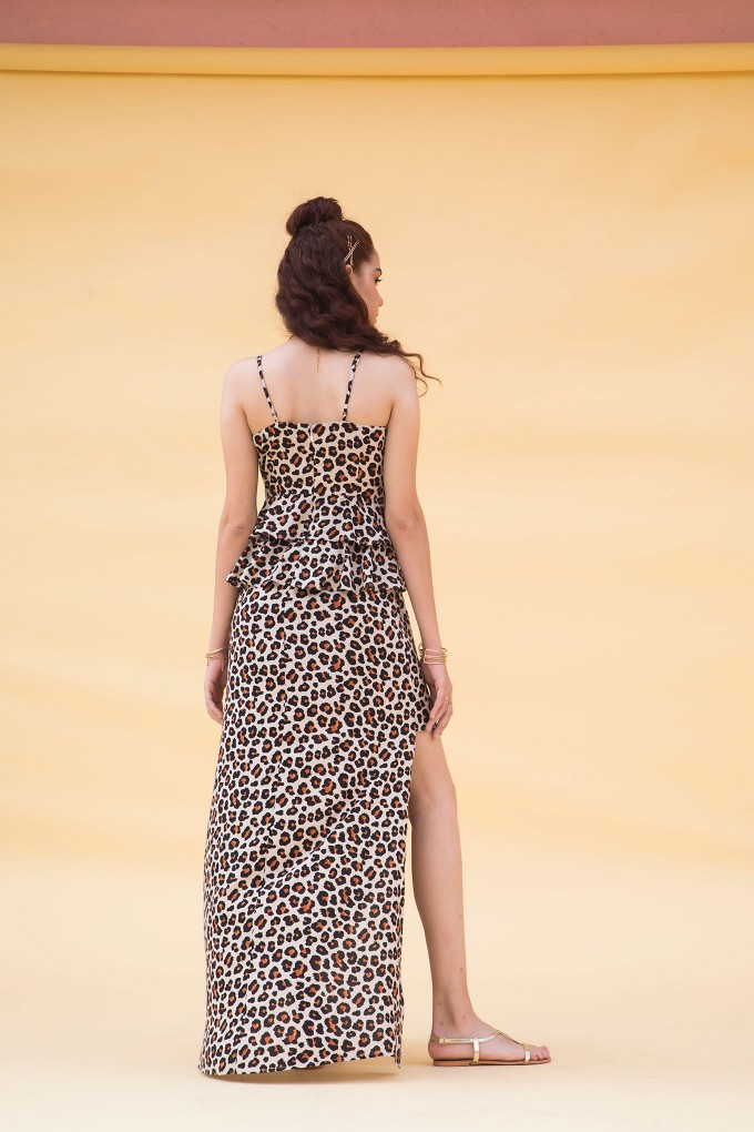 2 Tiered Animal Print Long Dress With Side Slit
