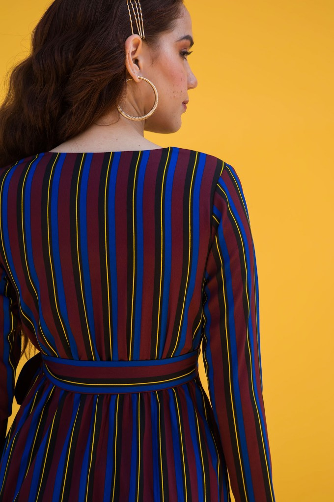Multi Colour Striped Full Sleeve Midi Dress With Centre Knot Detail