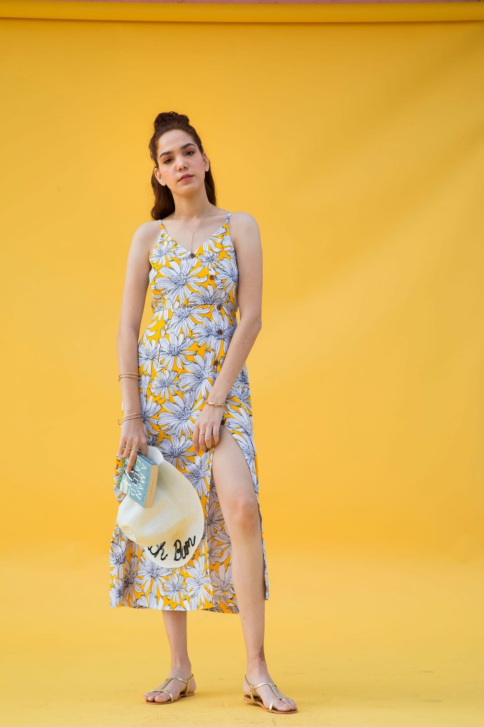 Floral Print Midi Dress In Yellow With Button Detail And Side Slit