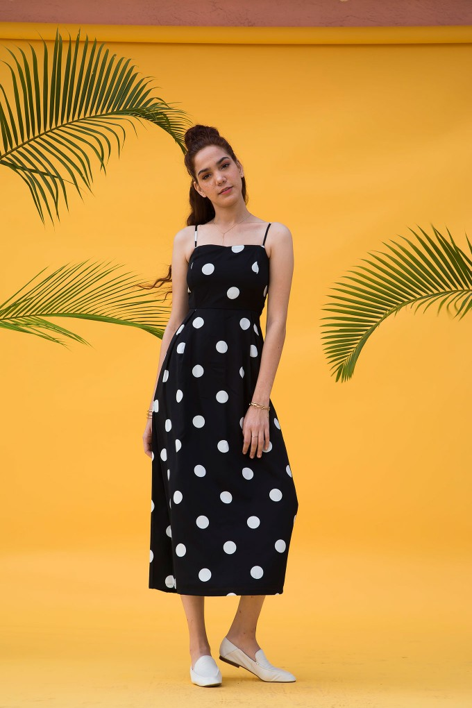 Strappy Black And White Mid Length Polka Dot Dress