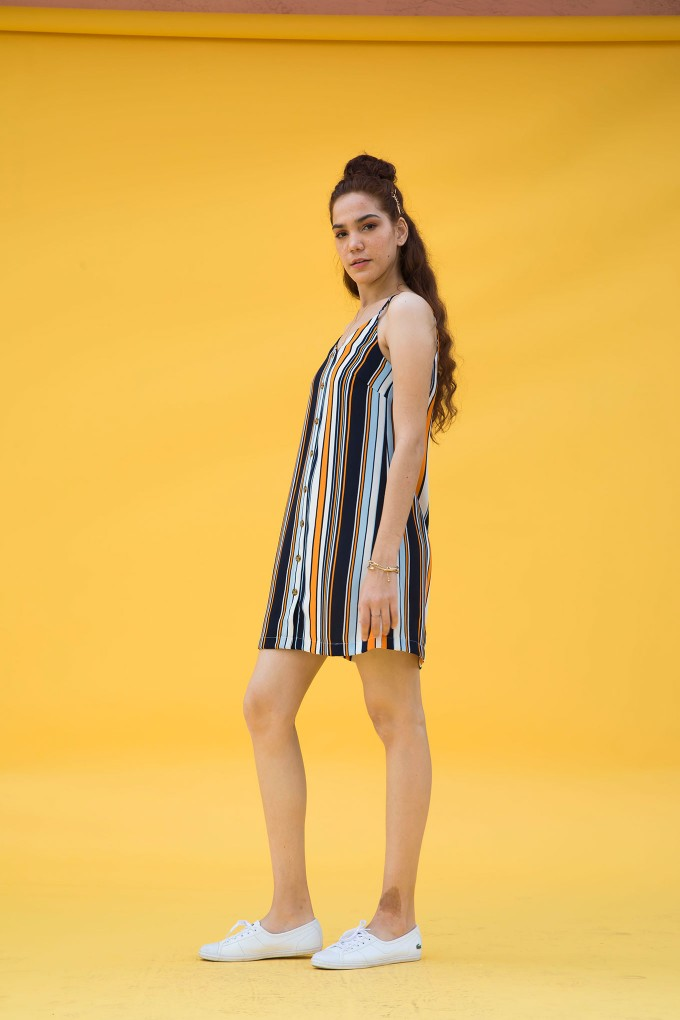Multicolour Striped Short Dress With Wooden Button Detail