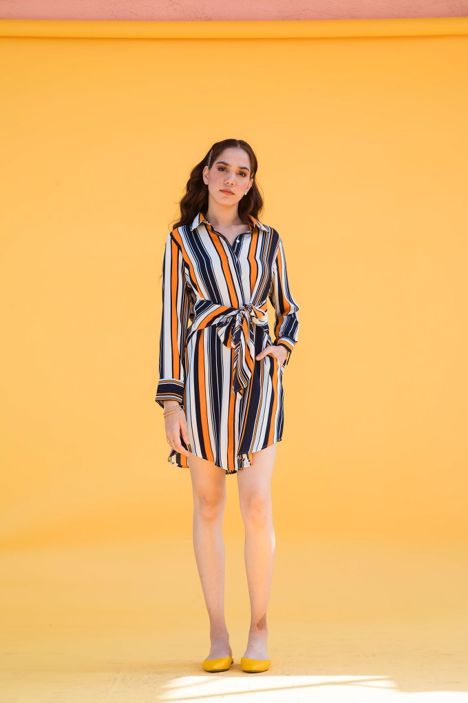 Multicolour Striped Shirt Dress With Front Tie- Up Detail