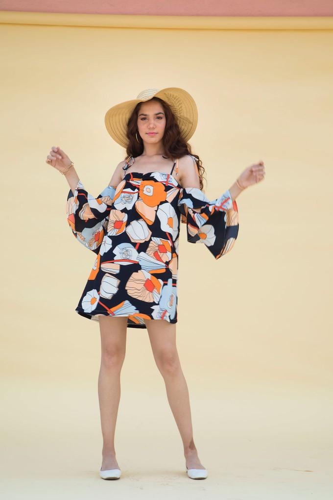 Big Flower Print Off Shoulder Dress With Bell Sleeve Detail