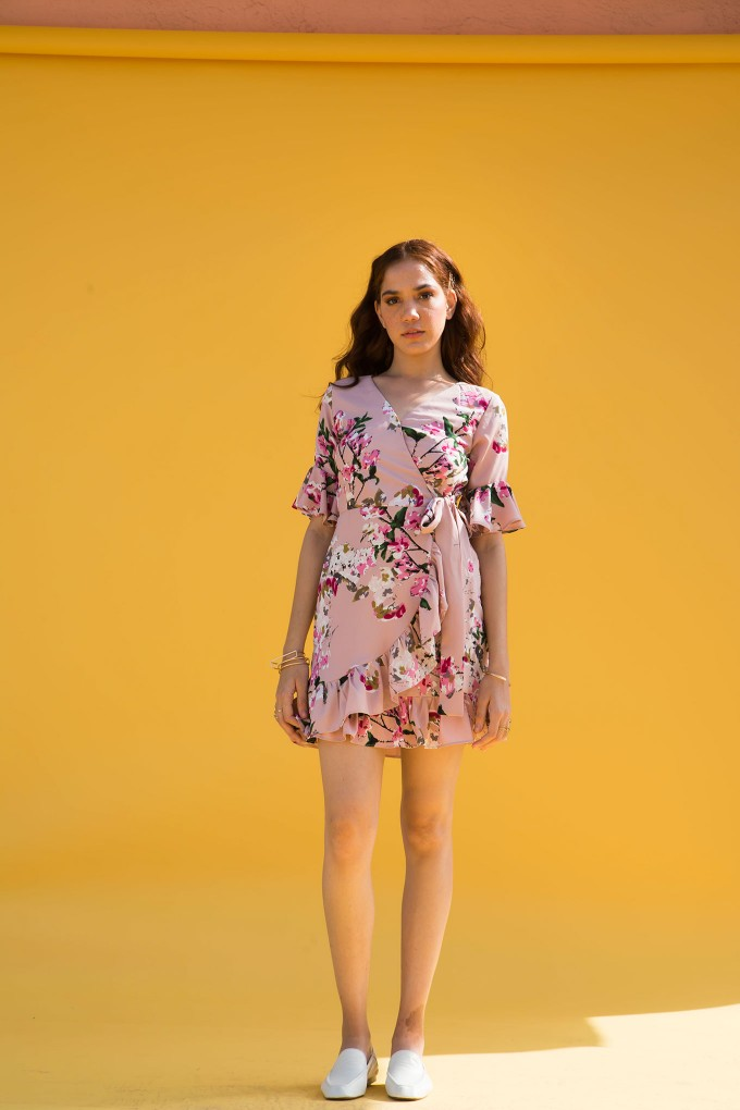 Flower Motif Short Dress With Frilled Sleeve Detail